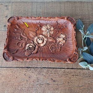 Vintage 1944 Faux Wood Floral Tray Catch-all